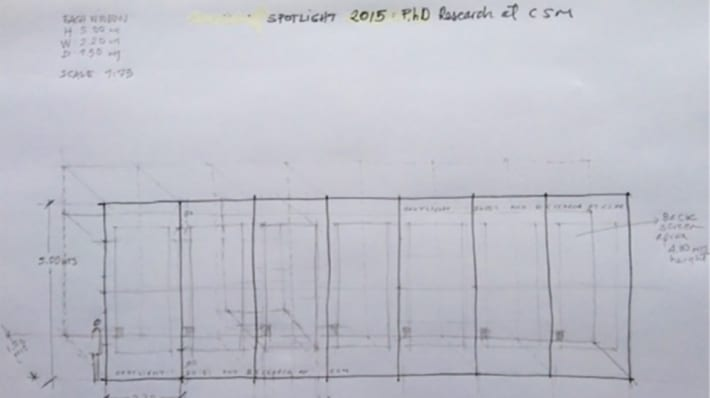 Sketched drawing of panels with measurements
