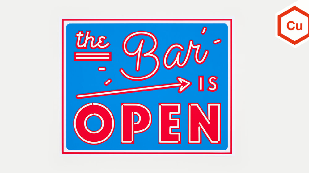 The Bar is Open sign