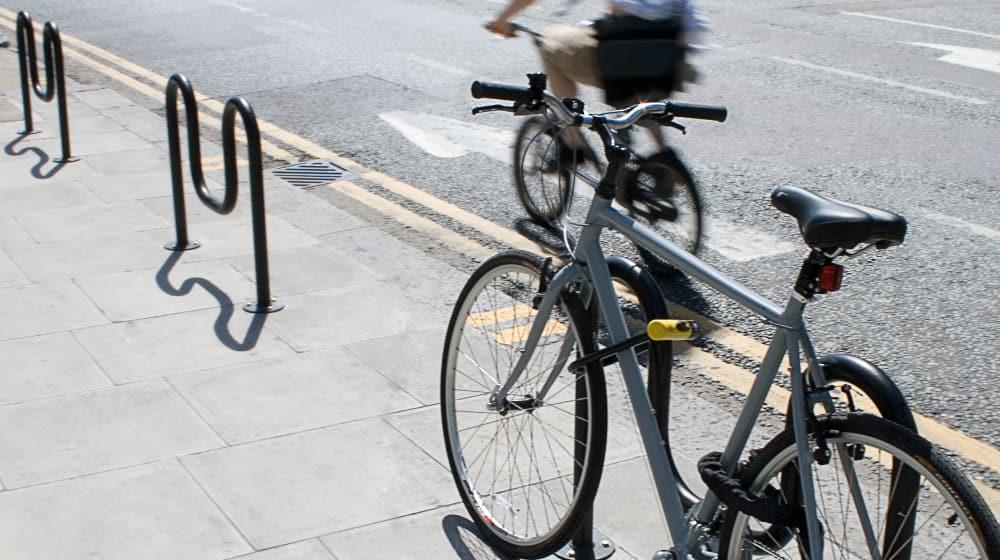 Bike stands on pavement