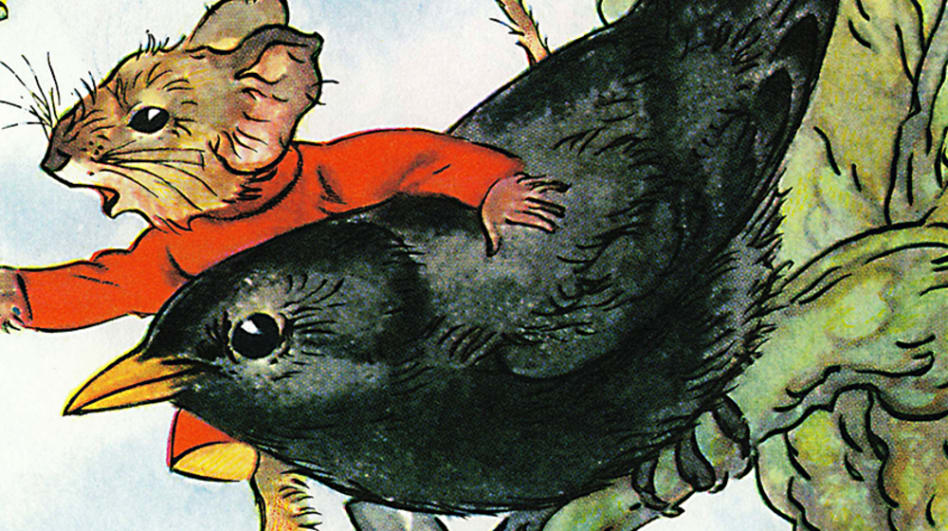 A still from a ladybird book of a mouse and a crow - the mouse is wearing a lovely red jumper