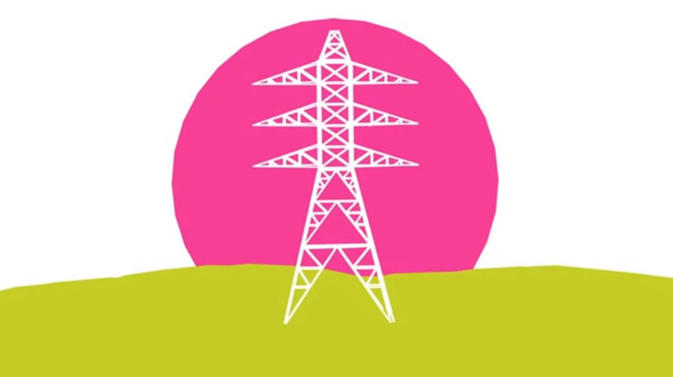 Infographic of a white electricity pylon on a green grass with pink sky.