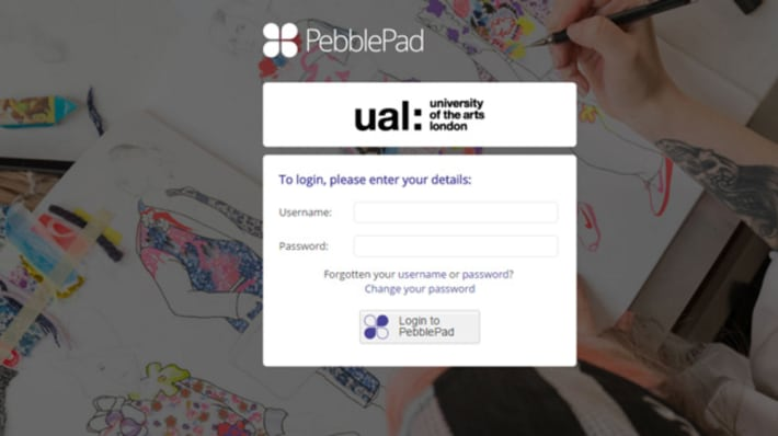 Screenshot of the Pebble Pad document submission tool login screen