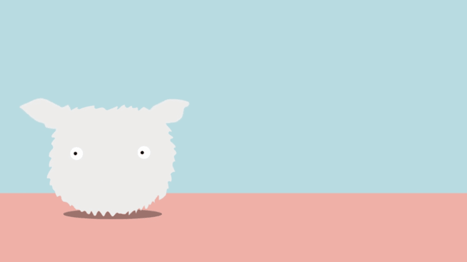 Animation of an 'eco furby': a white furry creature with eyes and animal ears, against a pink and blue background.