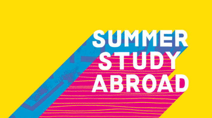 Yellow pink and blue graphic with Summer Study Abroad text on