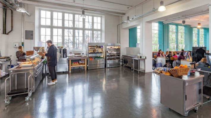 Interior of canteen at London College of Fashion Lime Grove