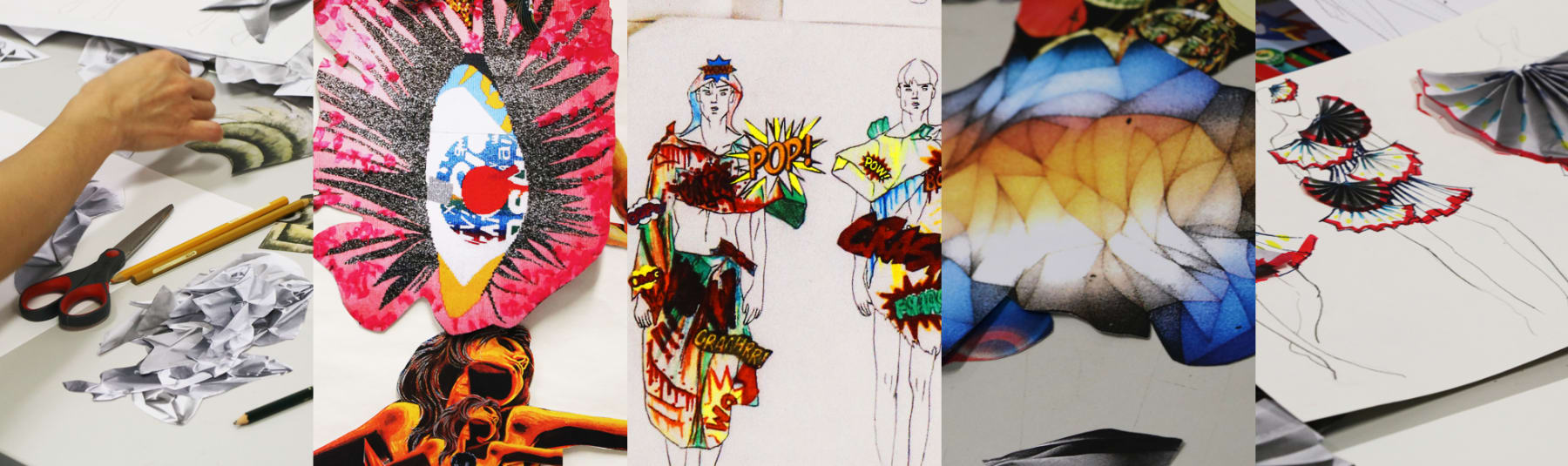 Fashion Mix student work, students at desks and the fashion collages created.