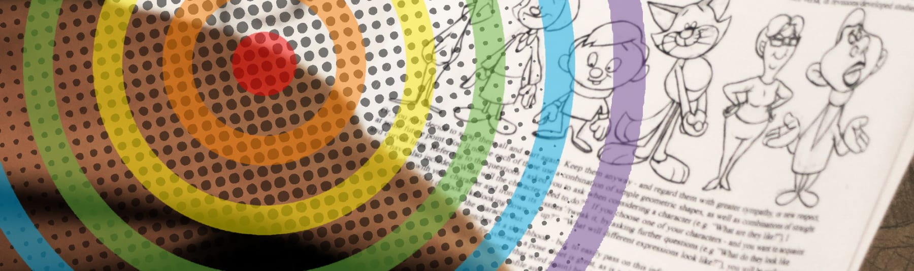 Drawing cartoon character guide with dots and rainbow pattern on top of photograph.