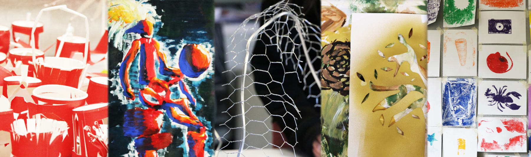 Examples of art work made by teenagers.