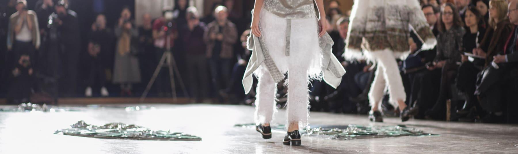 Models walking a catwalk