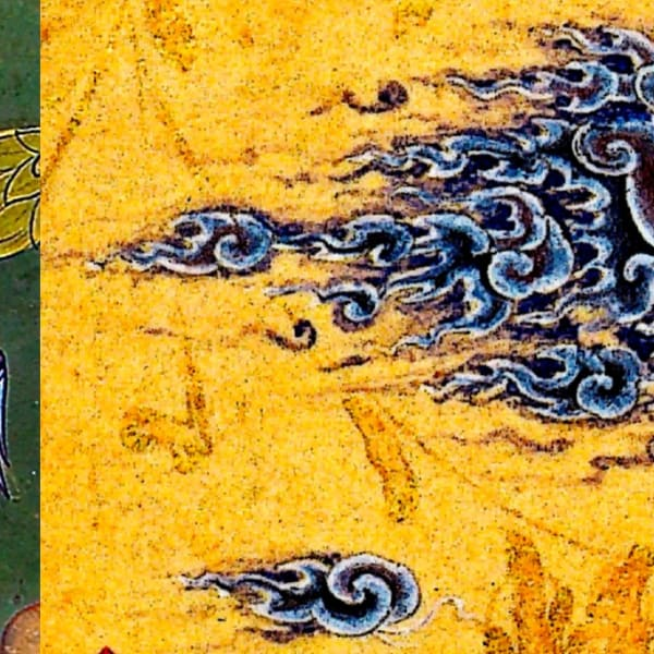 Art theory reference images, painting of a dragon and painting of clouds.
