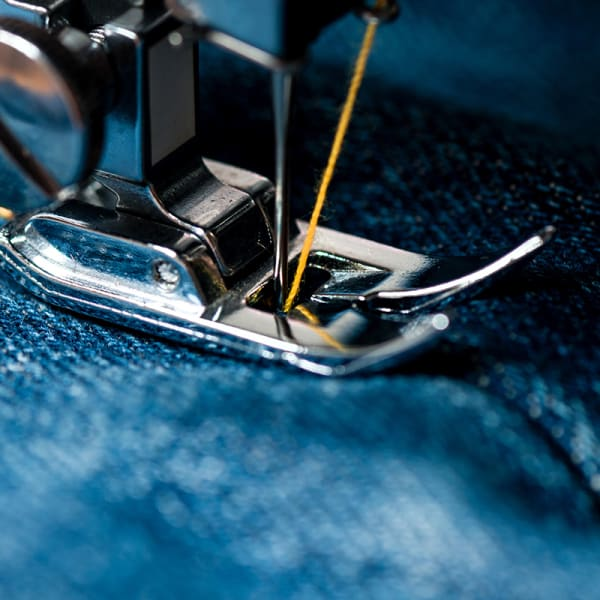Denim fabric on sewing machine