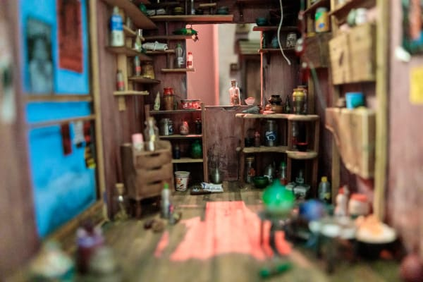 Scale model of a room created by student