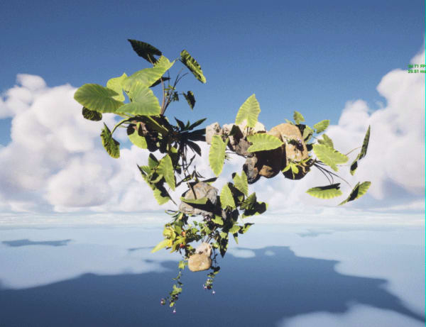 Digital image of plants and rocks floating against cloudy sky