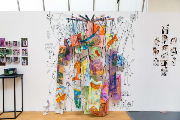 Textile artwork on wall