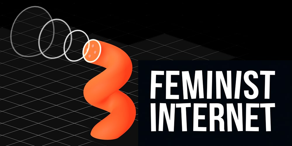 Black background with the text 'Feminist Internet'. UAL is working in partnership with Feminist Internet for this event.