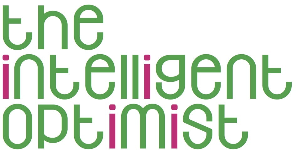 The Intelligent Optimist written in pink and green lettering