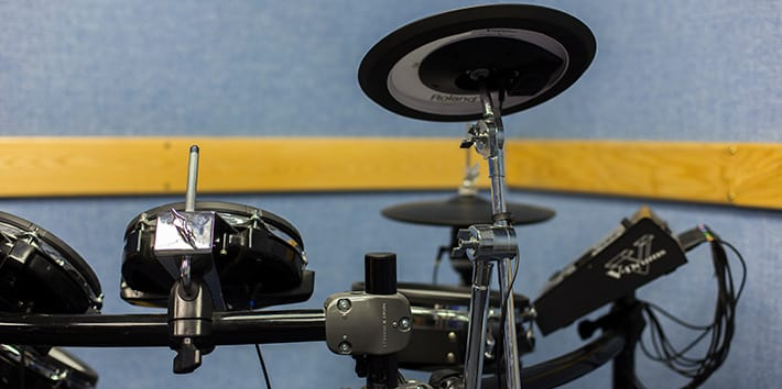 An electronic drum-kit set up in the Live Room/Foley Booth.
