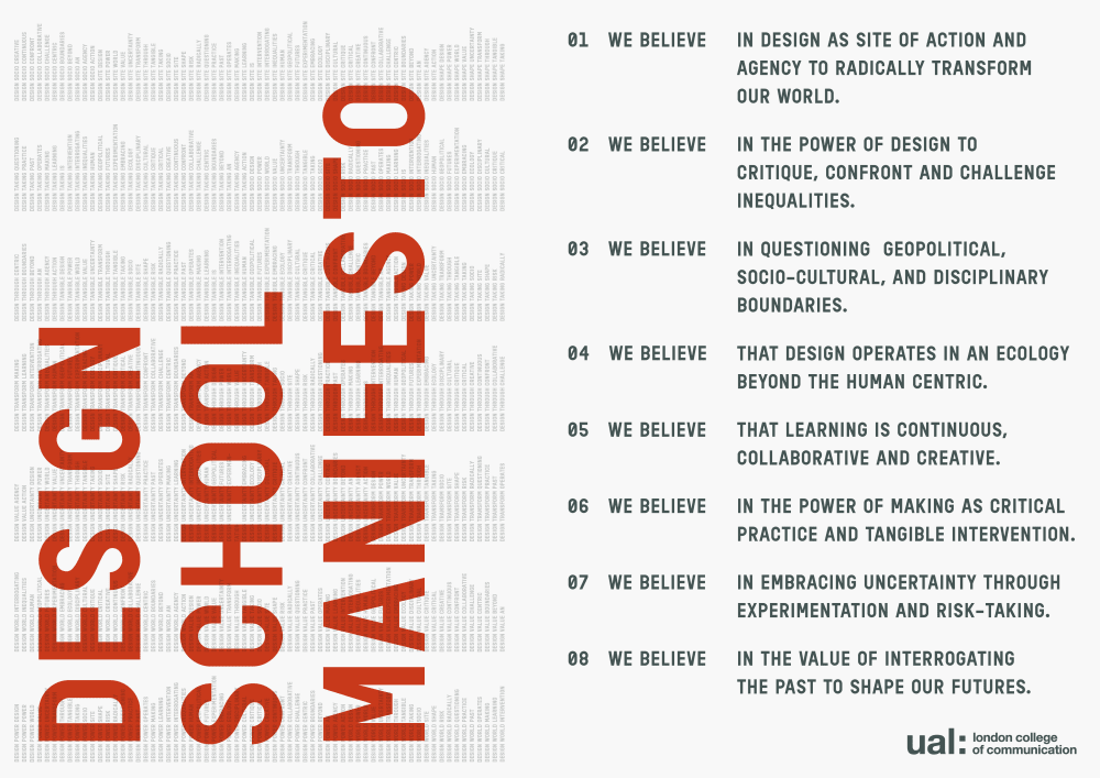 Design School Manifesto; eight statements in black typeface. 'Design School Manifesto' written in red typeface.