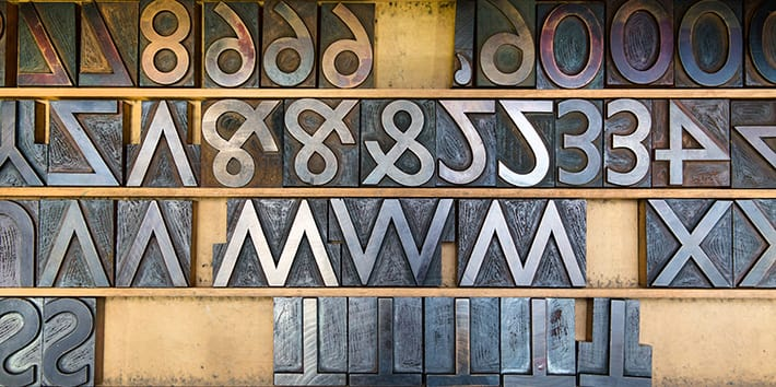 A close-up example of the moveable type found in the Letterpress workshop.