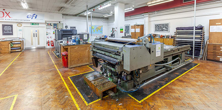 A lithographic printing press.