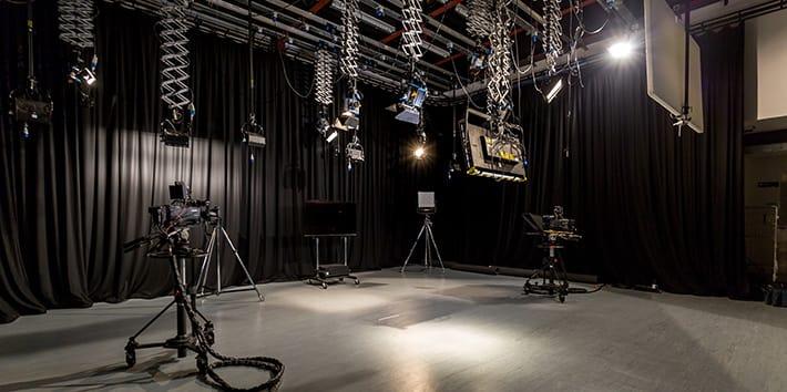 The TV studio.