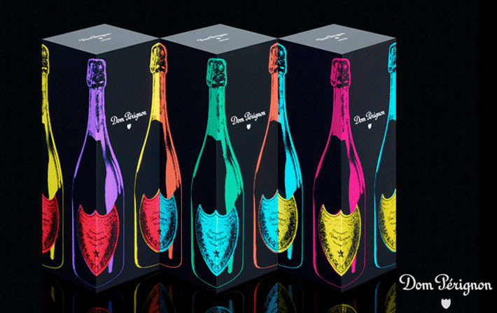 Black wine bottle boxes with colourful graphic design