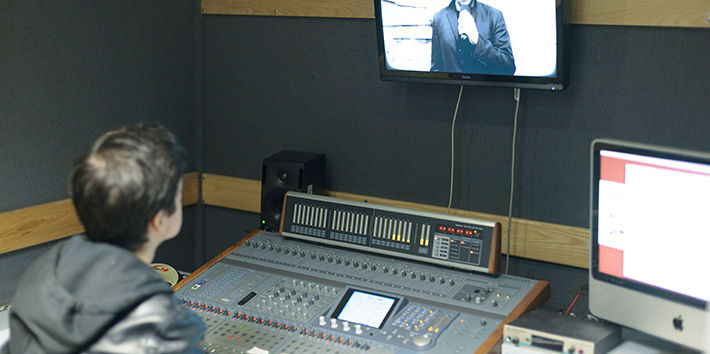A student working in one of the audio post-production suites.