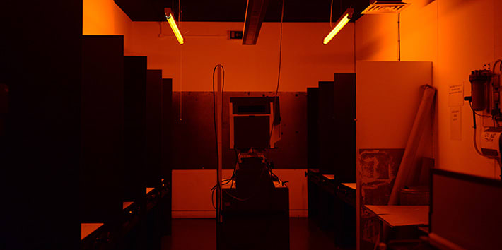 A black and white darkroom.