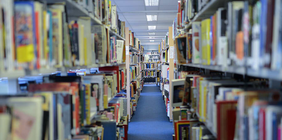 A row of books at the Camberwell Library