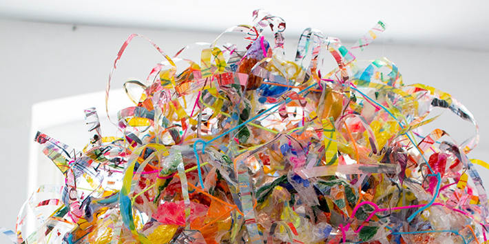 Pile of brightly-coloured artwork