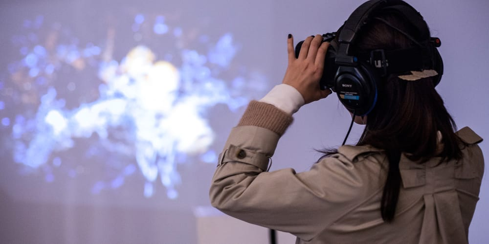 Girl using virtual reality google