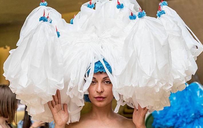 Model wearing headdress