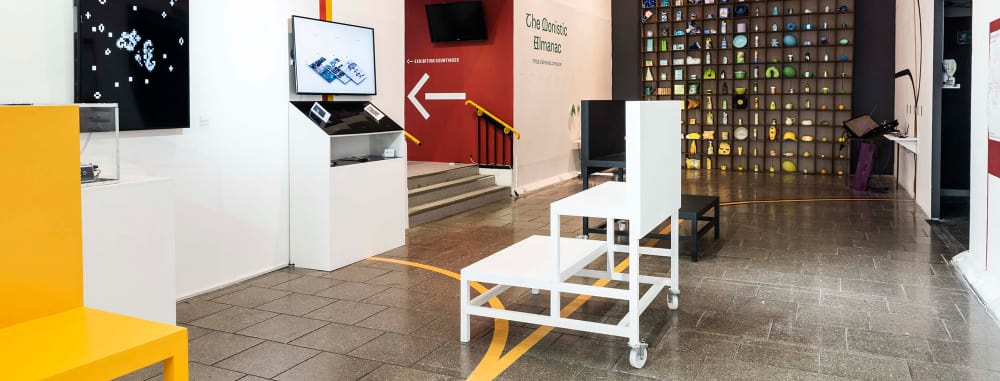 Image of a gallery space at LCC with installations