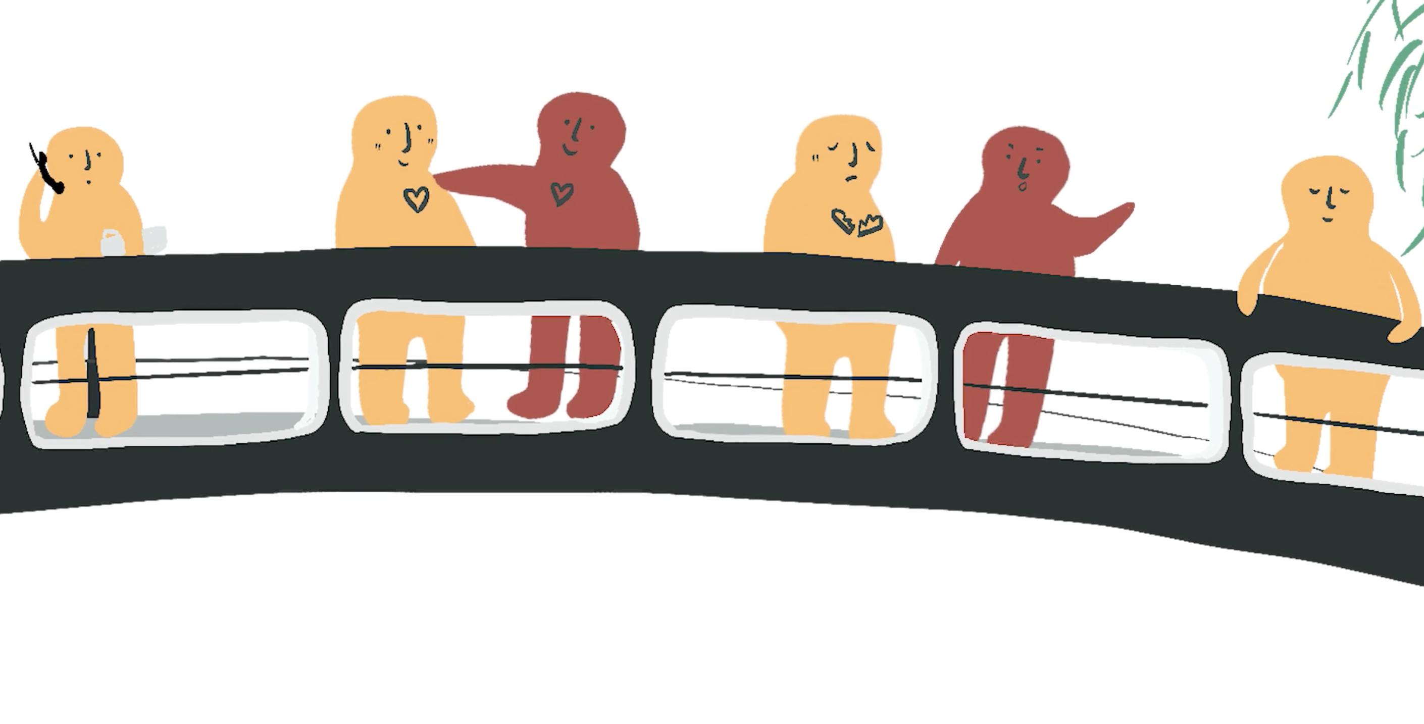 Illustration of people on a bridge