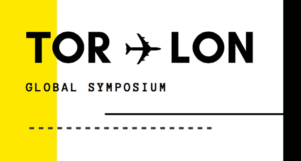 A screenshot of the Symposium promotional poster, themed around airline symbolism.