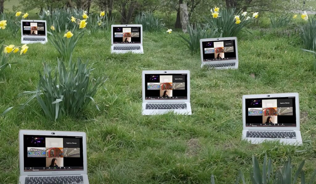 Laptops on the grass