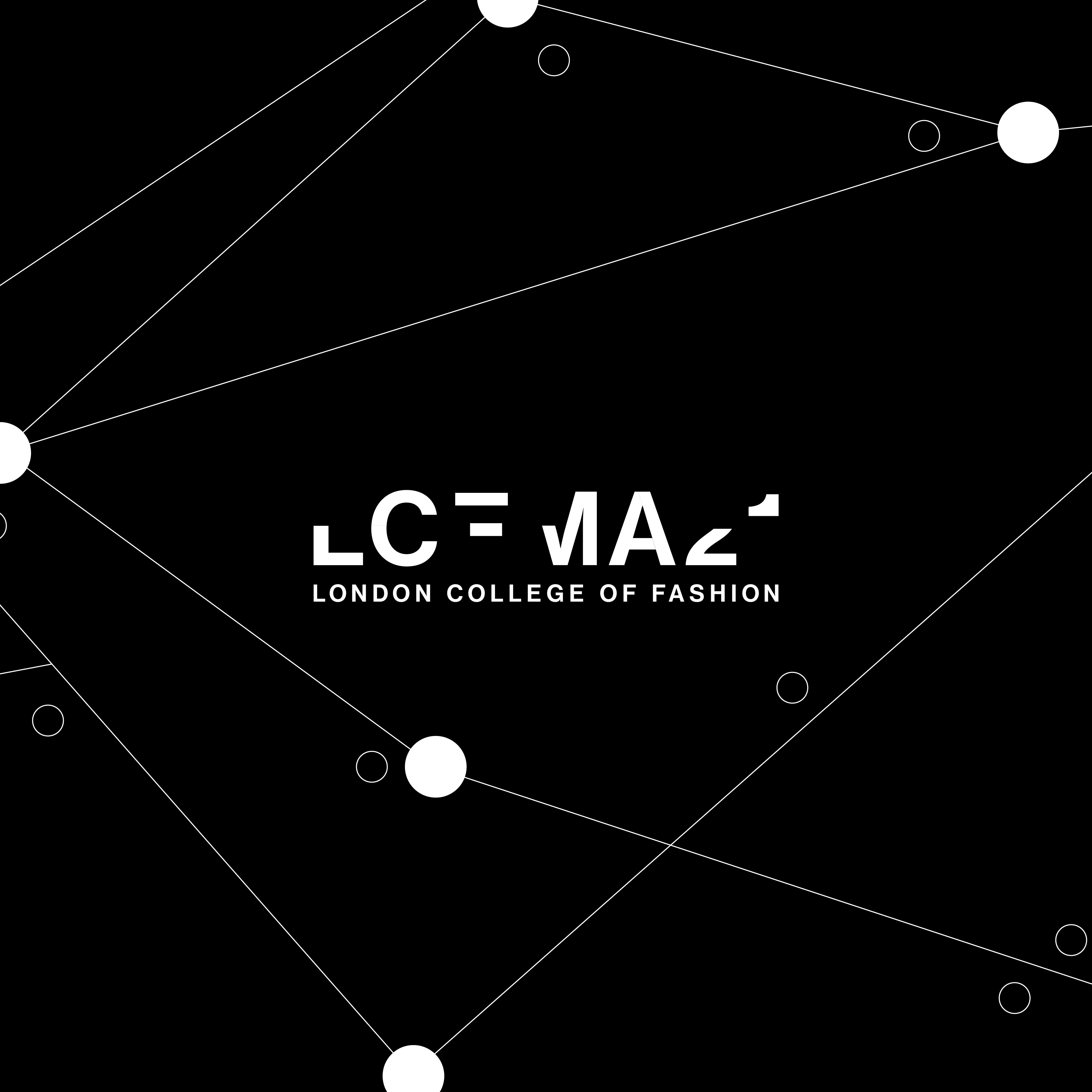 LCFMA21 written in large capital text on top of a black and white decorative pattern