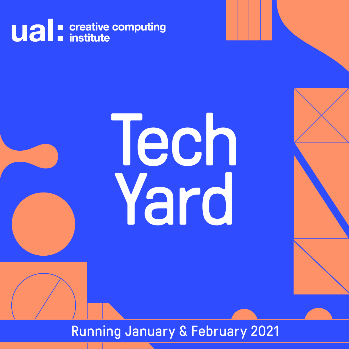 Square branded graphic with the wording Tech Garage in white text on a blue and orange background and the UAL CCI logo