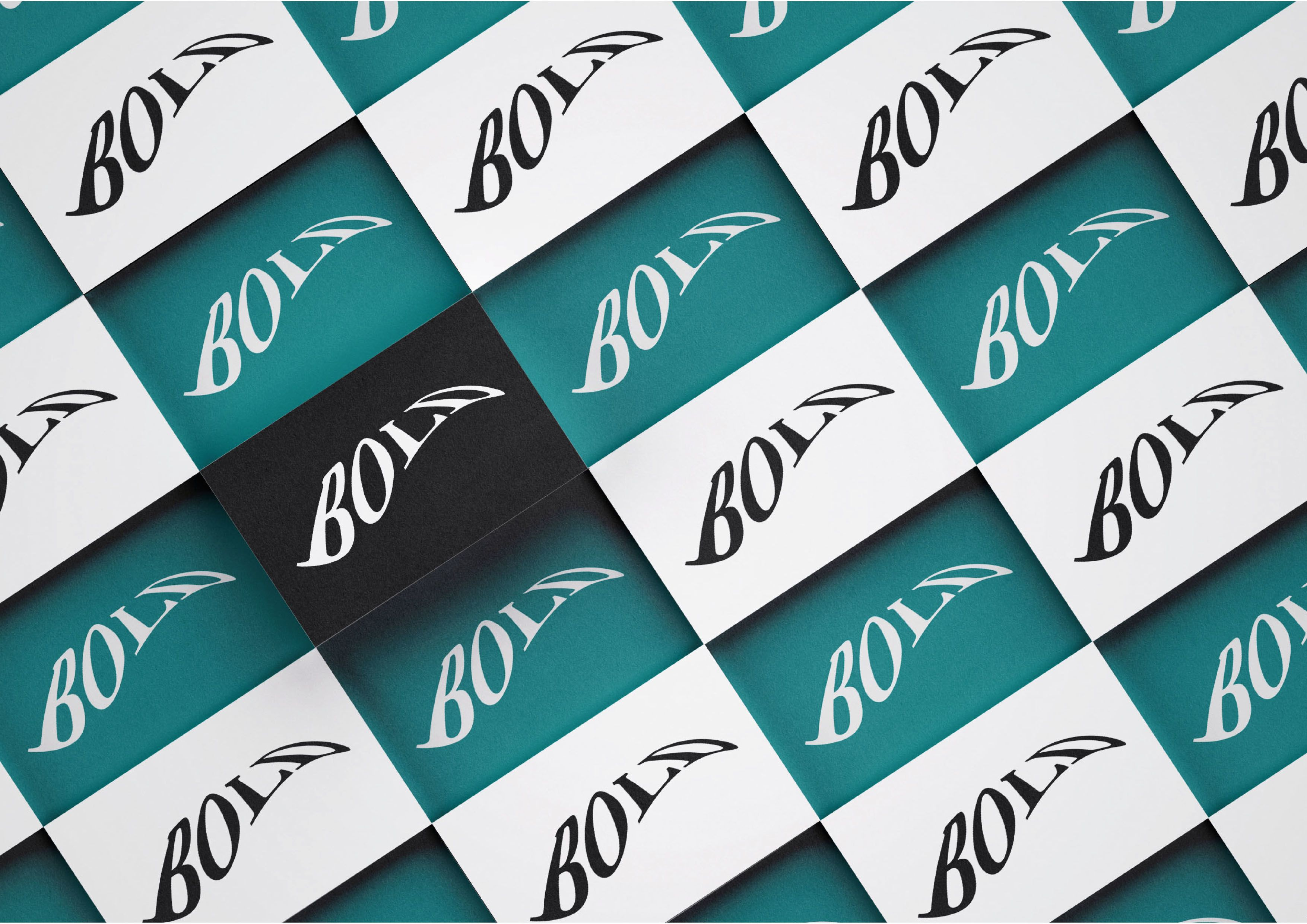 A mock up design by Miran Jurisevic showing what the business cards for 'Bold' would look like. The dominant colours are black, white, beige and turquoise