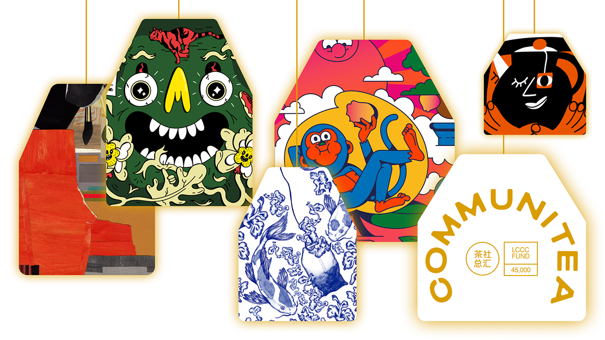 Five tea bags with different illustrations on them