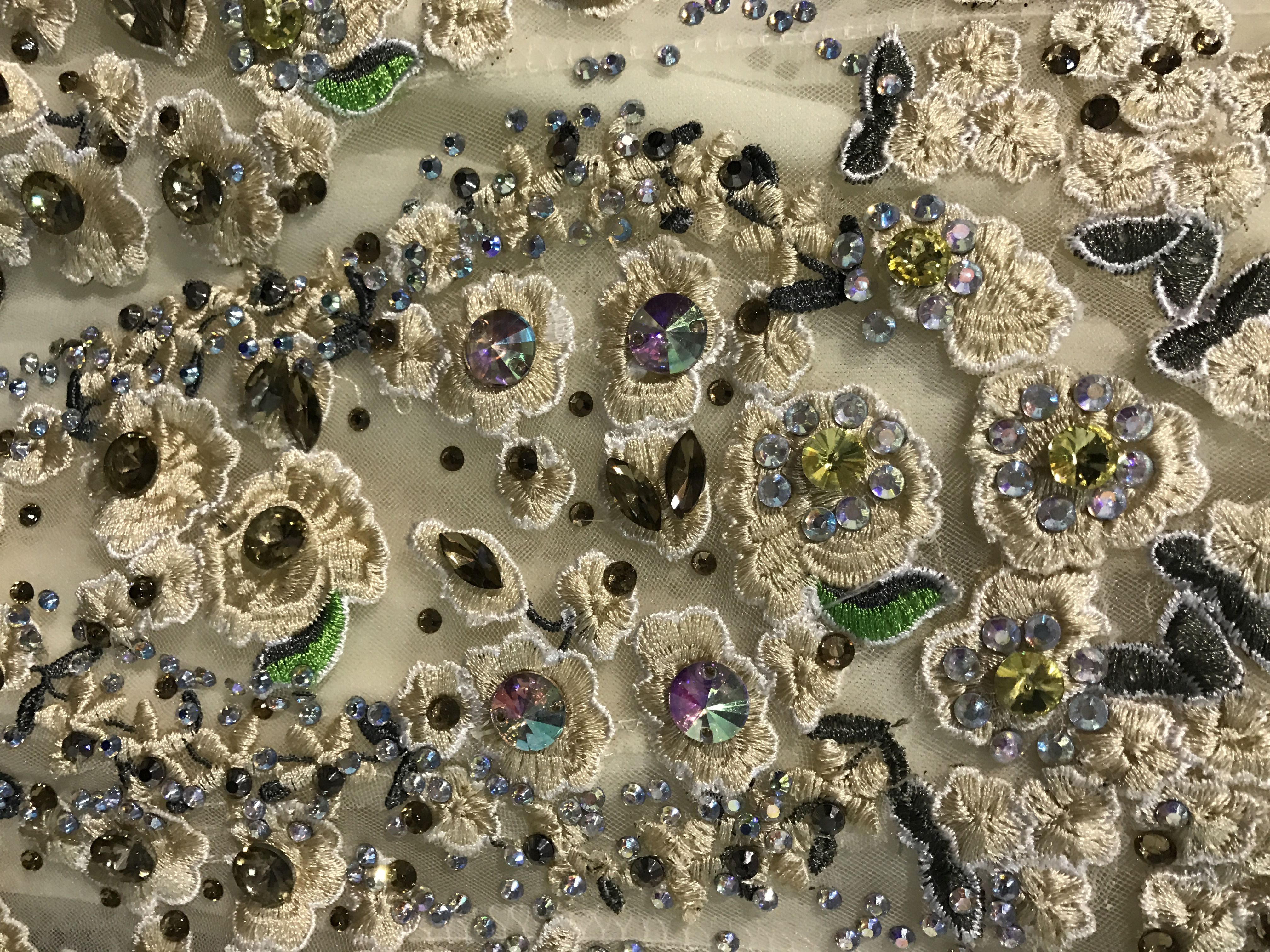 Close up of jewelled fabric.