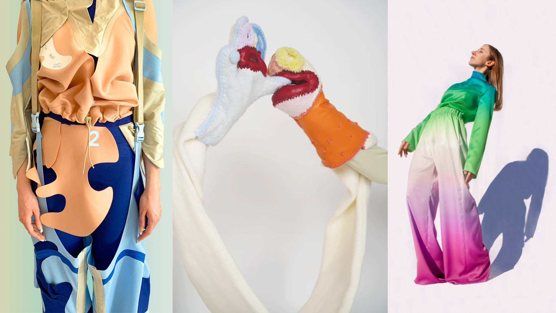 collage of student work. left = multicoloured patterned garment, middle = blue and orange glove puppets, right = multicoloured ombre jumpsuit garment