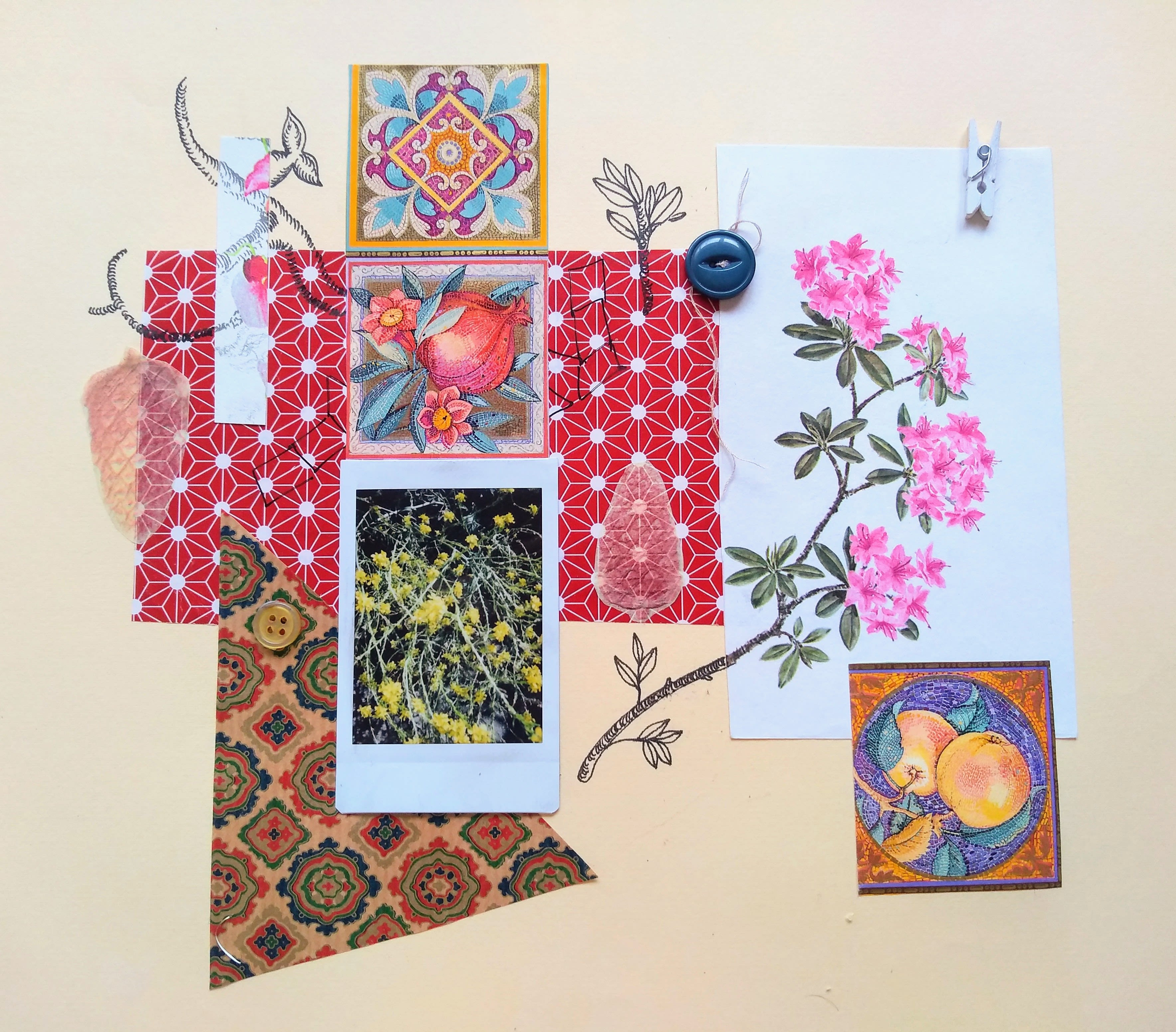 collage with flowers and paper illustrations