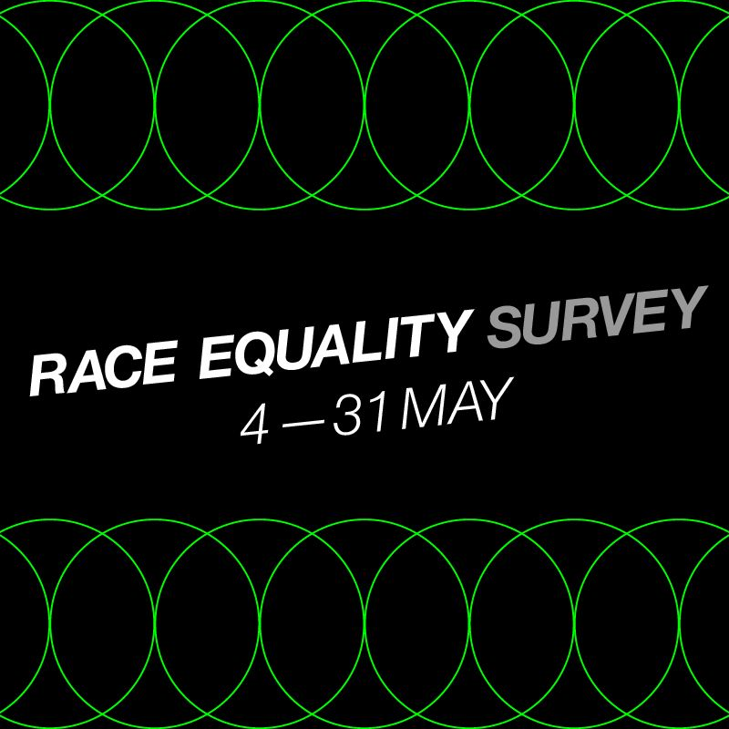 Black square with green inter-looping circles, on the top and bottom. In the middle is written,  Take the Race Equality Charter. 4-31 May.