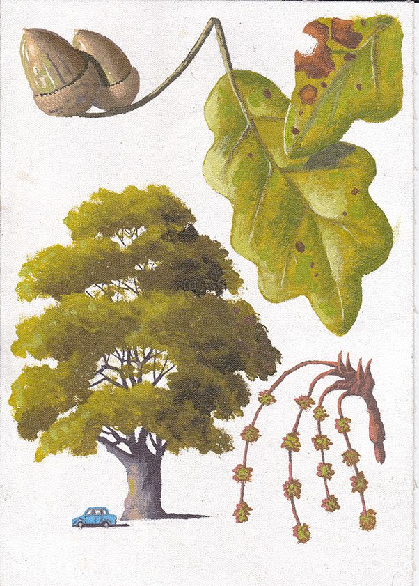 painting of trees and leaves