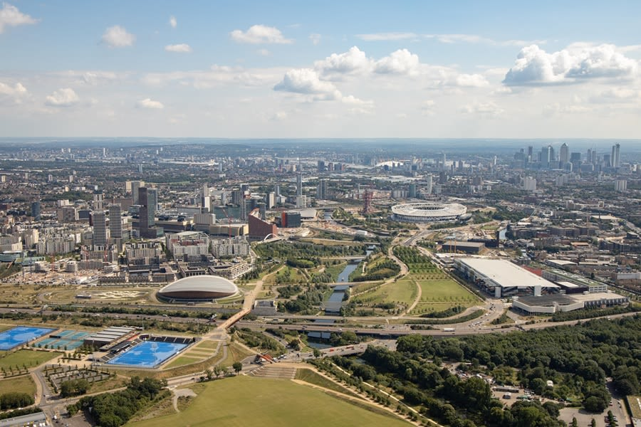 Aerial view of Queen Elizabeth Olympic Park. Photography: London Legacy Development Corporation