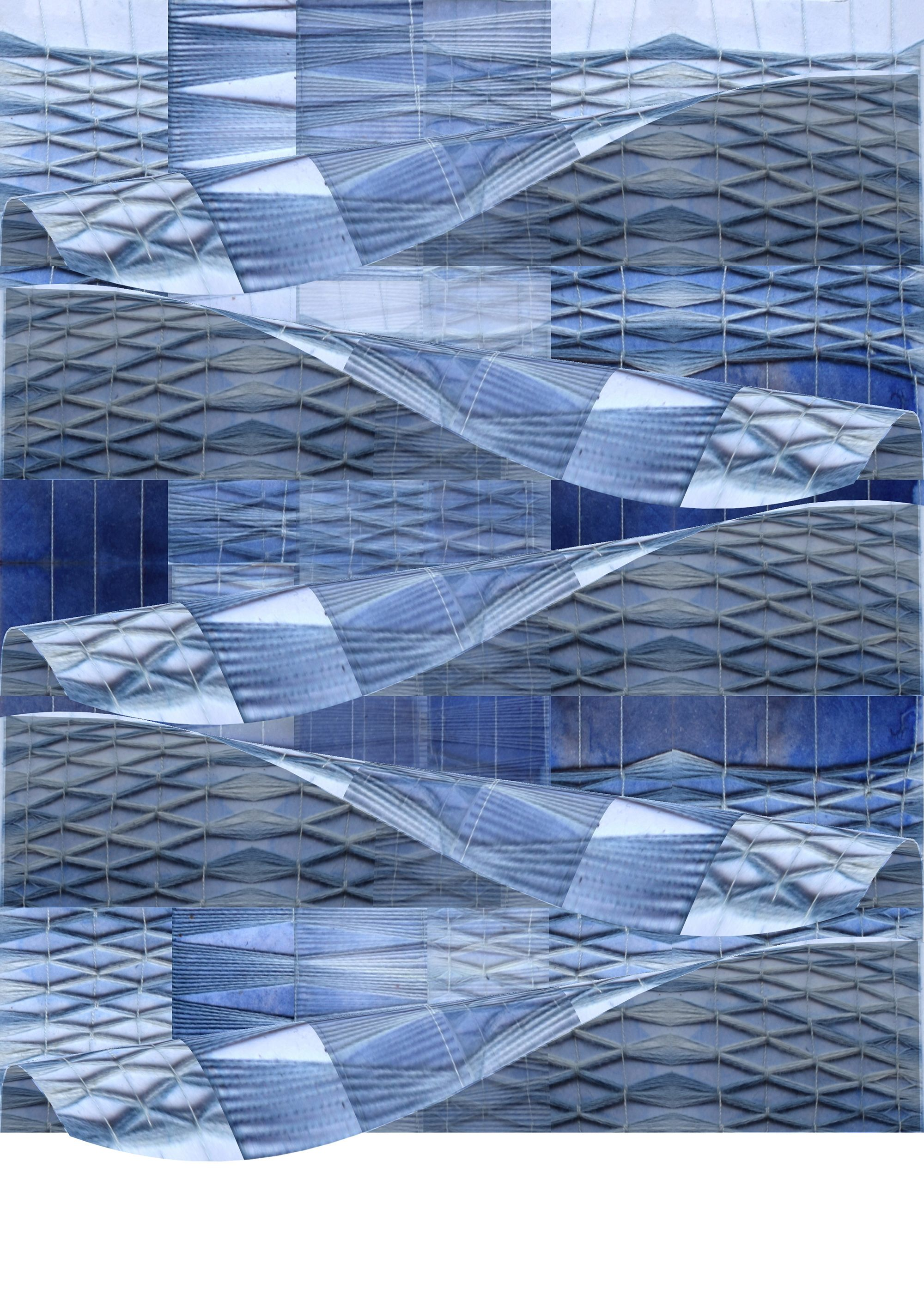 digital design of weave. Blue and white colours