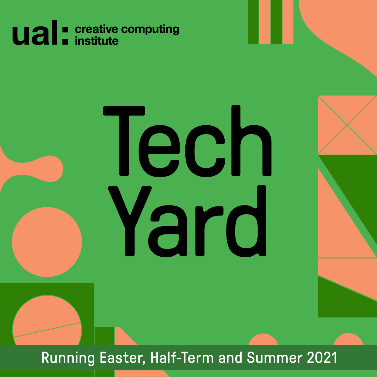 Tech Yard text graphic on green background