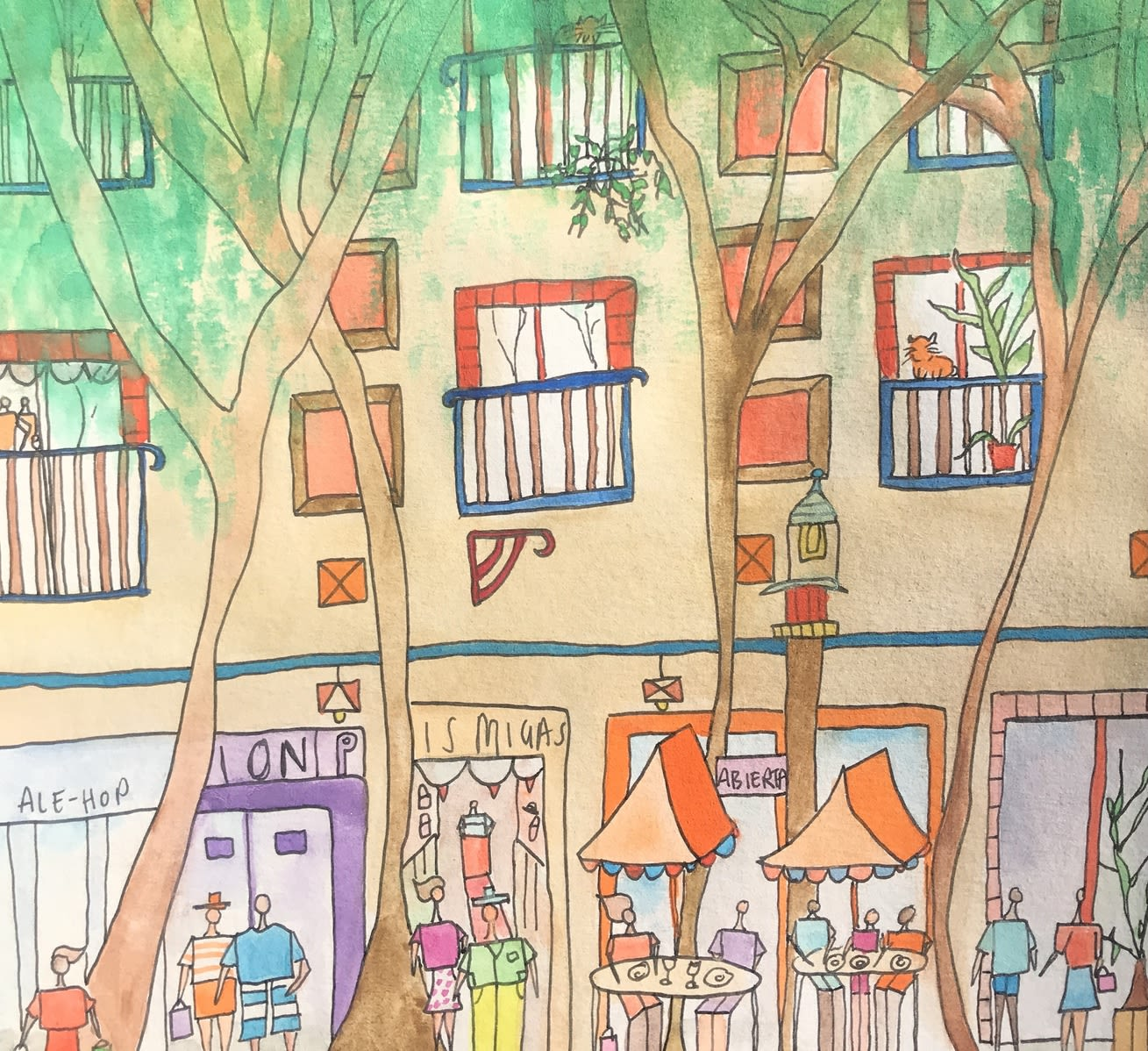 An illustration of a high street showing multiple shop windows