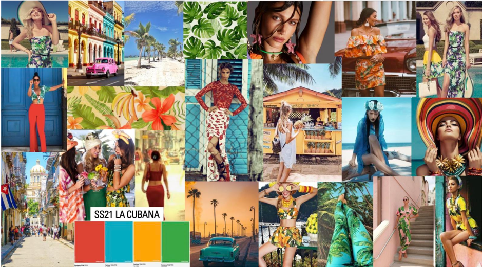 collage of vibrant summery photos and models in various floral outfits